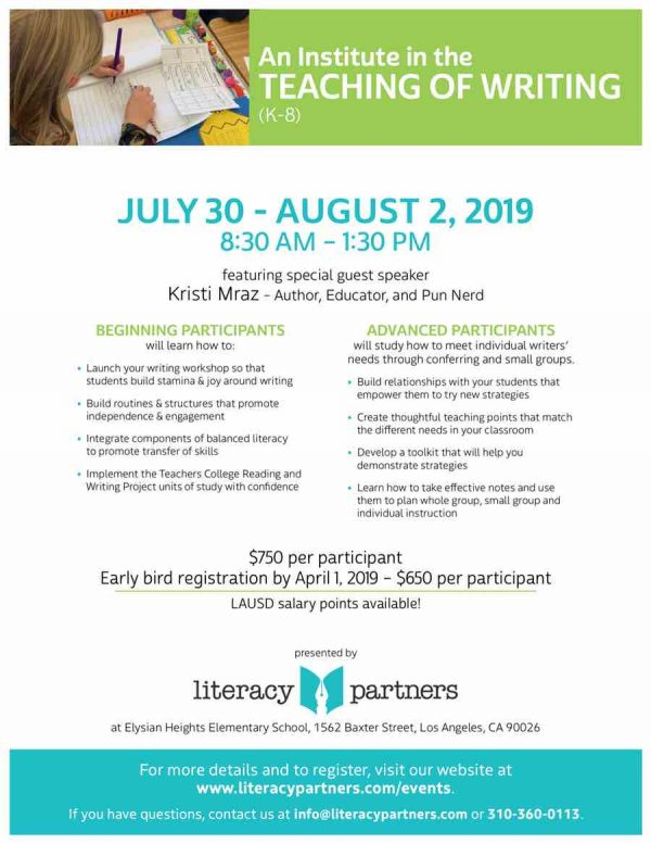 Literacy Partners Writing Institute 2019 Flyer